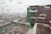 The Bloomberg Center's 11th-floor pediatric cancer unit features views of the downtown skyline.