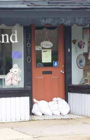 Sandbags were in place, if not needed, at Soft and Cozy baby boutique.