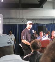 Ravens head coach John Harbaugh during his post game press conference.