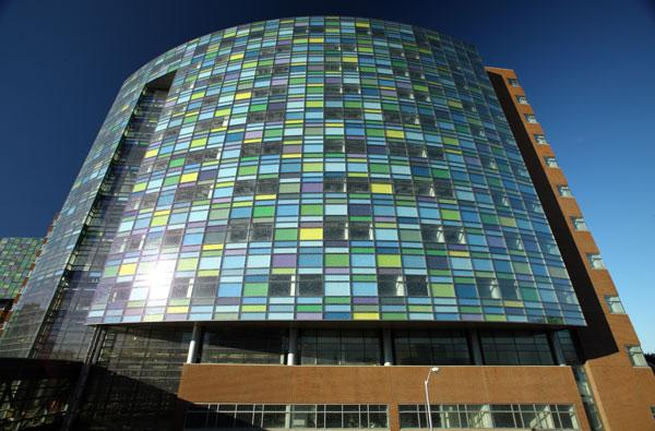The windows on a new Johns Hopkins patient tower are Monet inspired.