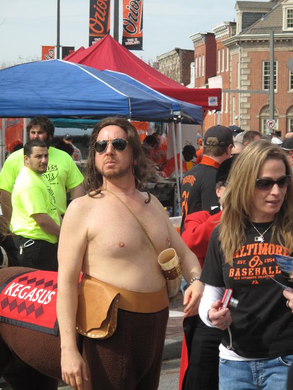 """The Preakness Stakes' """"Kegasus, Lord of the InfieldFest,"""" joined the Orioles' opening-day crowd Monday."""