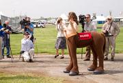Kegasus, this year's half-man, half-horse mascot of the Preakness infield party, talks to the media May 16 at Pimlico.