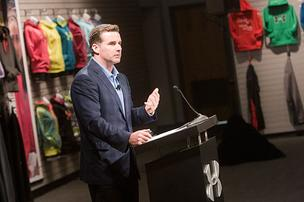 Under Armour CEO Kevin Plank addresses shareholders at the company's annual meeting Tuesday at Tide Point.