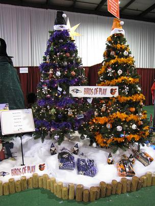"M&T Bank's tree, ""Birds of Play,"" celebrates Baltimore's favorite sports teams with not one, but two trees — one for the Orioles and one for the Ravens."