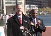 Gov. Martin O'Malley, speaking, and Prince George's County Executive Rushern Baker III at the Inner Harbor on Monday supporting Question 7.