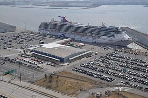 A Carnival cruise ship docked at the Port of Baltimore's Locust Point terminal.