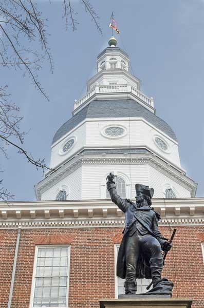 Commercial real estate developers would be able to claim a state income tax credit for their projects under a bill introduced in the General Assembly. Above, the Maryland State House in Annapolis.