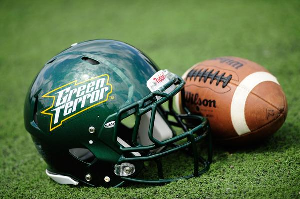The new Green Terror logo displayed on McDaniel College's football helmet.