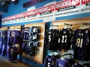 The Modell's store at Power Plant features a variety of Ravens merchandise.