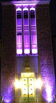 Notre Dame of Maryland University's Fourier Library lights up purple.
