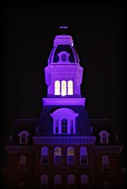 Notre Dame of Maryland University in North Baltimore lights Gibbons Hall purple nightly in support of the Ravens.