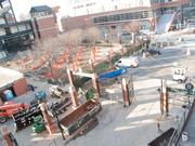 A view of construction at Oriole Park at Camden Yards.