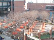 Construction is underway for the new Orioles Hall of Fame statue area in centerfield.