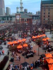 Fans packed Oriole Park's left field bullpen picnic area before the start of Monday's home opener.