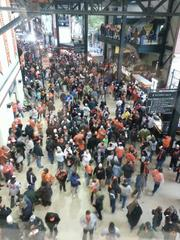 Orioles fans stream into Camden Yards Sunday before the start of the team's American League Division Series game against the New York Yankees.