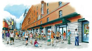 An artist's rendering of planned changes to Eutaw Street at Camden Yards this season.