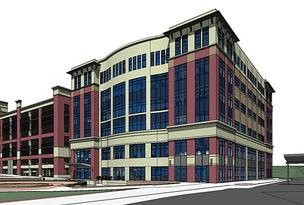 An artist's rendering of the combined community college and library at the Owings Mills Metro Centre.