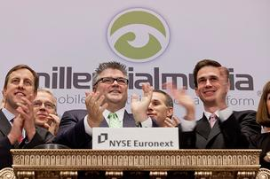 Millennial Media CEO Paul Palmieri claps after rining the opening bell at the New York Stock Exchange on Thursday in New York City.