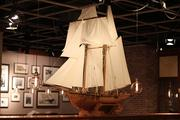 A replica of a tall ship plays a prominent role in Phillips Seafood's decor.