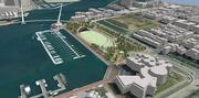 This option proposes a large elongated oval green with four gardens at each corner.  A ramp begins just to the east of the Science Center which rises on the south side of the green, bordered by north facing terraced seating.  This ramp continues to rise past a eastern band-shell and large public art collection, leaping across the harbor southeast of the Rusty Scupper, and bridging across the harbor, connecting by the Seven Foot Knoll Lighthouse at Pier 5. From this point a new small diagonal bridge connects west to the Aquarium and the Inner Harbor, or west to Pier Six and Inner Harbor East.  This scheme also includes a bridge across Key Highway to Federal Hill and the Visionary Arts Museum.
