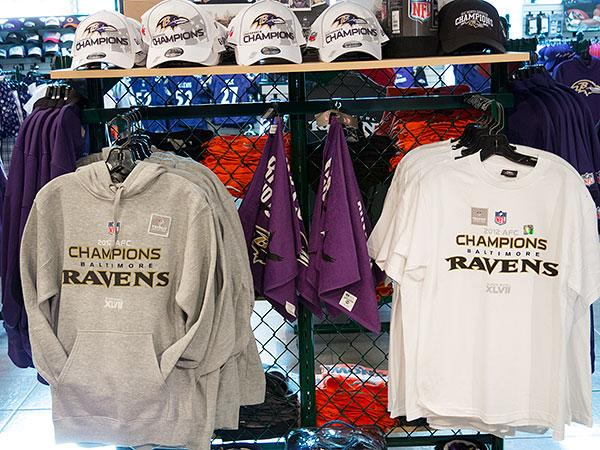 Ravens AFC Championship merchandise and apparel are hot sellers across Baltimore. Above, a rack of clothes in the Sport Shop at the Inner Harbor.