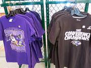 Ravens Super Bowl and AFC Championship shirts at the Sport Shop in Baltimore's Inner Harbor.