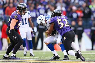 Ray Lewis wraps up Colts tight end Coby Fleener during the Ravens' 24-9 victory.