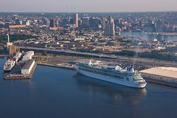The Royal Caribbean Enchantment of the Sea sails out of Baltimore. The port reported an economic impact of $90 million from cruises last year.