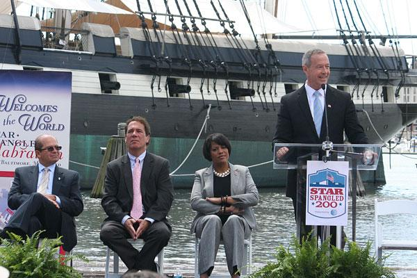Gov. Martin O'Malley, at podium, speaks at a press conference Tuesday unveiling plans for the June 13-19 'Star-Spangled Sailabraiton.' Seated from left to right: Jose Fuentes, chairman of Operation Sail Inc.; Baltimore County Executive Kevin Kamenetz and Mayor Stephanie Rawlings-Blake.