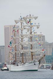 Mexican tall ship Cuauhtemoc departs Baltimore's Inner Harbor.
