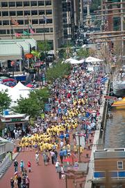 Spectators gather at the Inner Harbor on Wednesday as tall ships begin to dock.