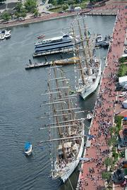 Two tall ships dock at the Inner Harbor on Wednesday as part of the Star-Spangled Sailabration.