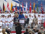 Mayor Stephanie Rawlings-Blake speaks at the Inner Harbor Thursday during the kick off of the Star-Spangled Sailabration.