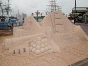 Patrick Harsch made a sand sculpture in honor of the Star-Spangled Sailabration.