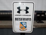 A convenient parking spot reserved for the Blue Angels in front of Under Armour headquarters.
