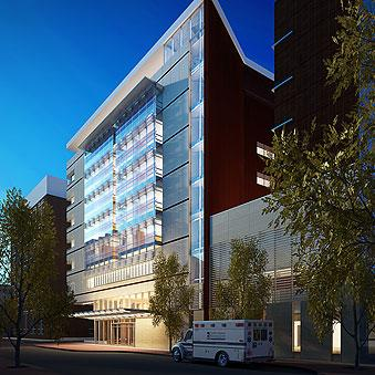A rendering of Shock Trauma's nine-story expansion on its downtown Baltimore campus.