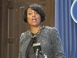 Mayor Stephanie Rawlings-Blake says the city can avoid financial disaster if it cuts property taxes.