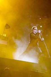 U2 lead singer Bono plays for the packed crowd at M&T Bank Stadium in Baltimore.