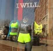 """A display outside Under Armour's store showcases """"Boh"""" and Hampden shirts."""