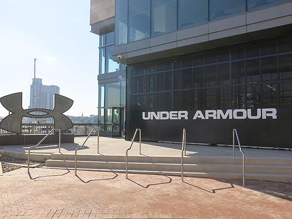 The entrance to Under Armour's new Harbor East store includes a 2,500-pound garage door where consumers enters.