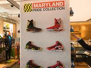 """University of Maryland """"Pride"""" basketball shoes on display — and for sale — at Under Armour's new Brand House in Harbor East."""