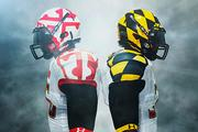 "Under Armour's helmet for the ""Maryland Pride"" jersey displayed different images from the state flag on both sides."