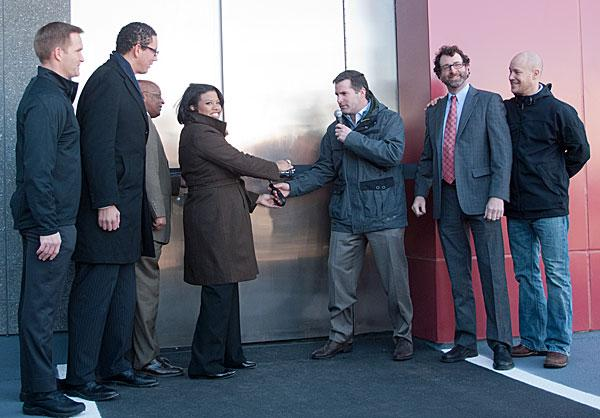 Mayor Stephanie Rawlings-Blake and Under Armour CEO Kevin A. Plank, center, cut the ribbon Tuesday on the company's new innovation lab at Tide Point.