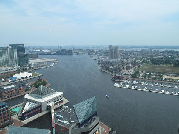 The top of the World Trade Center at the Inner Harbor is a prime spot to watch tall ships sail into Baltimore for the Star-Spangled Sailabration.