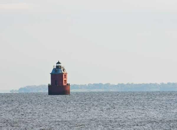 The Sandy Point Shoal Light along the Chesapeake Bay.
