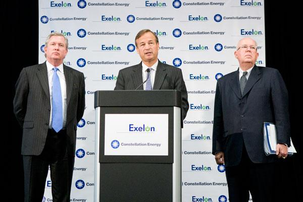 From left, Exelon President Chris Crane, Constellation CEO Mayo Shattuck and Exelon CEO John Rowe discuss their plans to merge the two companies.