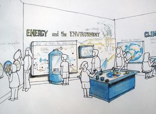 A rendering of the energy exhibit set to open at the Maryland Science Center next year.