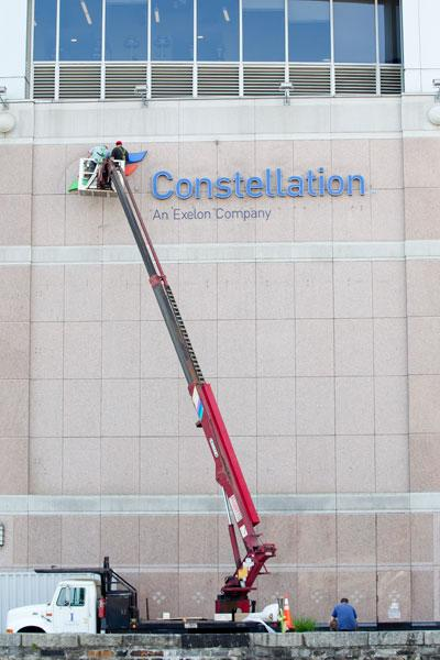 The Constellation/Exelon merger meant a logo change to the Constellation building.