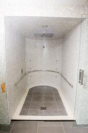 """""""The Experience"""" shower, fit with LED lights and different settings like """"Cascade"""" or a misting feature is available at the Four Seasons Hotel Baltimore's spa."""