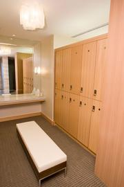 The men's locker rooms at the Four Seasons Hotel Baltimore's spa.
